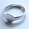 Sormus, Sterling hopea 925, paikka koristeelle (noin 8mm), säädettävä koko läpimitta noin 16-19mm, 1kpl