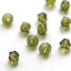 Helmi, Swarovski Crystal, Oliivin vihreä, 4mm, bicone (säihkyvä heijastus), 8 kpl