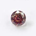 *Erä* Synteettinen zirkonia 'Fantasia' 2-värinen: punainen/tumma oranssi, pyöreä, 5mm, kestää hopeasavipolton