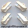 Päätösosa nauhalle, hopeoitu, noin 10x5mm, kiinnipuristettava, 10mm leveälle nauhalle 4kpl