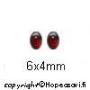 Kuutiollinen Zirkonia, Garnetti, tasainen tausta, kapussi, soikea, 6x4 mm, 1 kpl