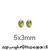 Kuutiollinen Zirkonia, Oliivin vihreä, tasainen tausta (kapussi), soikea, 5x3mm, 2kpl *Huom vaalea*