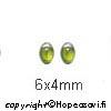 Kuutiollinen Zirkonia, Oliivin vihreä, tasainen tausta (kapussi), soikea, 6x4mm, 2 kpl
