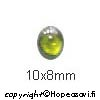 Kuutiollinen Zirkonia, Oliivin vihreä, tasainen tausta (kapussi), soikea, 10x8mm, 1 kpl