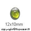 Kuutiollinen Zirkonia, Oliivin vihreä, tasainen tausta (kapussi), soikea, 12x10mm, 1 kpl