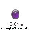 Kuutiollinen Zirkonia, Ametisti, tasainen tausta, soikea, 10x8mm, 1 kpl