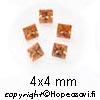 Kuutiollinen Zirkonia, Samppanja (champagne), neliö, 4x4mm (5kpl)
