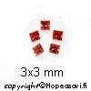 Kuutiollinen Zirkonia, Garnetti, neliö, 3x3mm (5kpl)