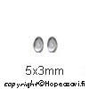 Kuutiollinen Zirkonia, valkoinen (kirkas), tasainen tausta (kapussi), soikea, 5x3mm, 1 kpl