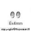 Kuutiollinen Zirkonia, valkoinen (kirkas), tasainen tausta (kapussi), soikea, 6x4mm, 1 kpl
