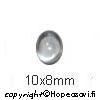 Kuutiollinen Zirkonia, valkoinen (kirkas), tasainen tausta (kapussi), soikea, 10x8mm, 1 kpl