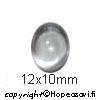 Kuutiollinen Zirkonia, valkoinen (kirkas), tasainen tausta (kapussi), soikea, 12x10mm, 1 kpl