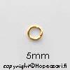 Välirengas, kullattua messinkiä, pyöreä, 5mm, lanka 0.8 noin 100 kpl *Uusi edullinen pakkauskoko*