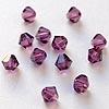 Helmi, Swarovski Crystal, Ametisti, 4mm, bicone (säihkyvä heijastus), TUKKUPAKKAUS 48 kpl
