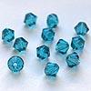 Helmi, Swarovski Crystal, Turmaliini -sininen, 4mm, bicone (säihkyvä heijastus), 8 kpl