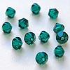 Helmi, Swarovski Crystal, Emeraldi, 4mm, bicone (säihkyvä heijastus), 8 kpl
