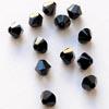 Helmi, Swarovski Crystal, Musta, 4mm, bicone (säihkyvä heijastus), 8 kpl
