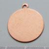Kupari, muotopala, Ympyrä -silmukka, läpimitta 19mm, paksuus 0.5mm, emalointiin tai korun osaksi, 2 kpl