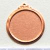 Kupari, muotopala, Ympyrä-kehysreunalla, ulkokehyken läpimitta 22mm, aukko 18mm, emalointiin tai korun osaksi, 2 kpl