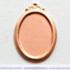 Kupari, muotopala, Soikea -kehysreunuksella, 25x16mm, paksuus 0.5mm, emalointiin tai korun osaksi, 3 kpl