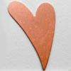 Kupari, muotopala, Hauska sydän, 44x32mm, paksuus 0.5mm, emalointiin tai korun osaksi, 1 kpl