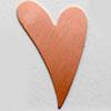 Kupari, muotopala, Hauska sydän, 38x25mm, paksuus 0.5mm, emalointiin tai korun osaksi, 2kpl