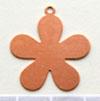 Kupari, muotopala, Kukka 5 lehteä, läpimitta 25mm, paksuus 0.5mm, emalointiin tai korun osaksi, 2 kpl