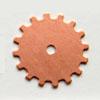 Kupari, muotopala, 'Ratas -suljettu, läpimitta 19mm, paksuus 0.5mm, emalointiin tai korun osaksi, 3kpl