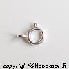 Lukko, Hopea 925, jousilukko, läpimitta 6mm, 2 kpl