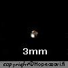 *Erä* Helmi, Hopea 925, pyöreä, 3mm, reikä 0.7mm, 4 kpl