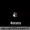 *Erä*  Helmi, Hopea 925, pyöreä, 4mm halkaisija, reikä 1.3mm, 2 kpl